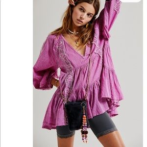 FREE PEOPLE Pink Bloom Striped Boho Floral Tunic S
